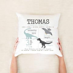 Dinosaur birth stat cushion