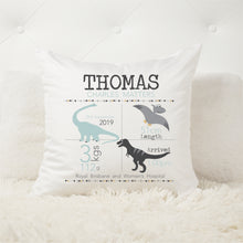 Load image into Gallery viewer, Dinosaur birth stat cushion
