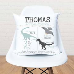 Dinosaur personalised birth cushion - Happy Joy Decor