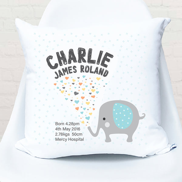 Boy's elephant personalised birth cushion - Happy Joy Decor