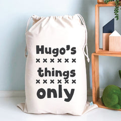 Boys Things Only Personalised Storage Sack - Happy Joy Decor