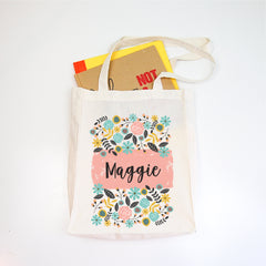 Botanical Personalised Library Tote Bag - girl library bag - Happy Joy Decor