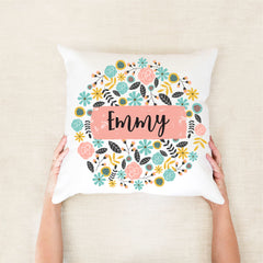 Bright Botanical Personalised Cushion - Girls Custom Name Pillow -  Happy Joy Decor