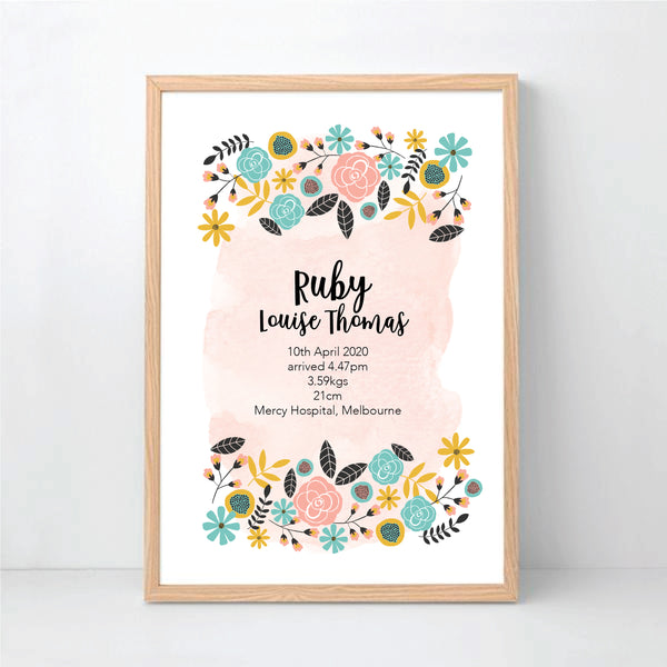 Bright Botanical Flower Personalised Birth Print - Happy Joy Decor