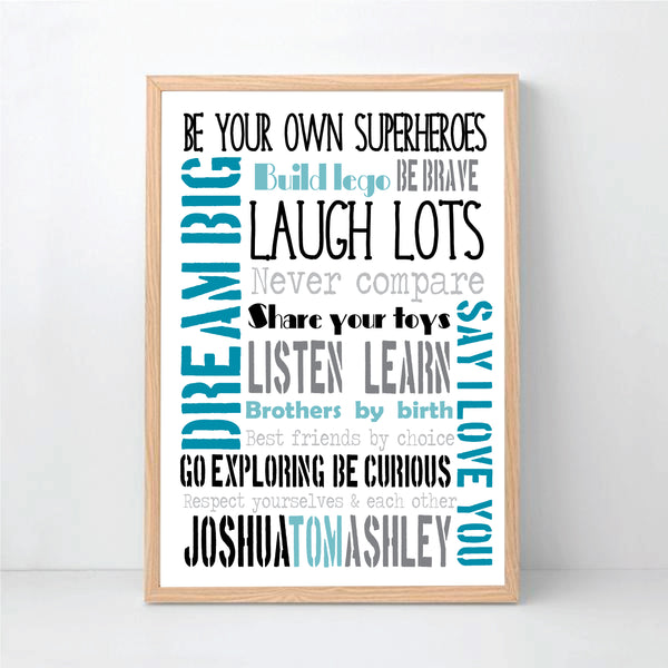 Brothers Typography Personalised Art Print - Happy Joy Decor