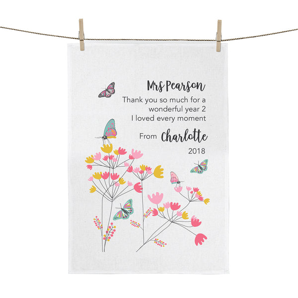 Butterfly teacher gift personalised tea towel - Happy Joy Decor