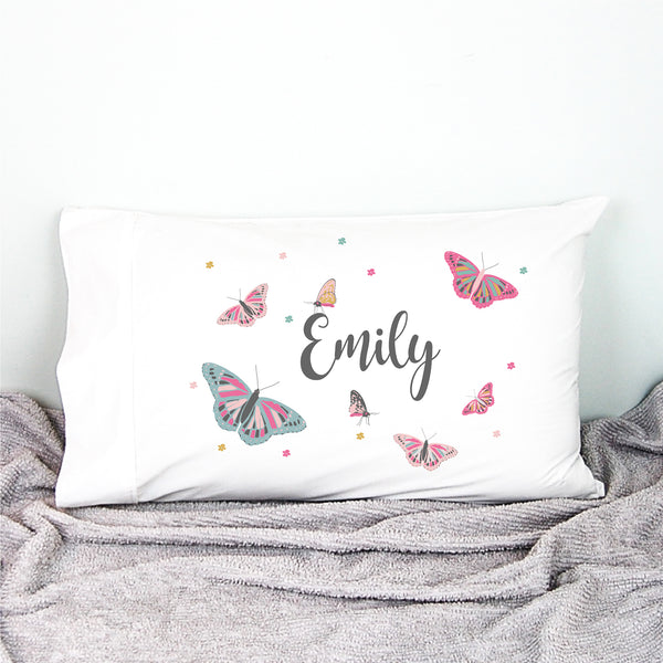 Butterfly girls personalised pillowcase - Happy Joy Decor
