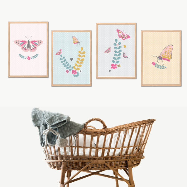 Butterfly Wall Art Instant Download Printable Set - Happy Joy Decor