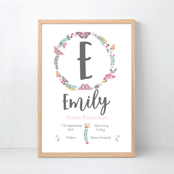 Butterfly Wreath Personalised Birth Print - Happy Joy Decor