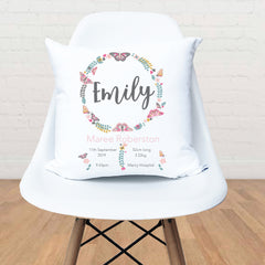 Butterfly Wreath Girl's Personalised Birth Cushion - Happy Joy Decor