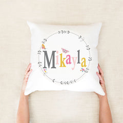 Butterfly floral girls personalised cushion - girls custom name pillow - Happy Joy Decor