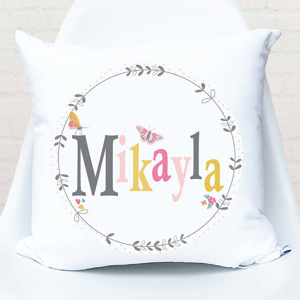 Butterfly floral girls personalised cushion - Happy Joy Decor