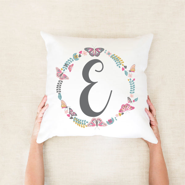 Butterfly Wreath Personalised Cushion - girls custom pillow - Happy Joy Decor
