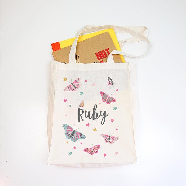 Butterfly Girls Personalised Library Tote Bag - Happy Joy Decor
