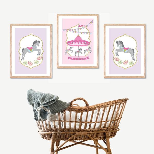 Carousel Printable Wall Art Set - Happy Joy Decor