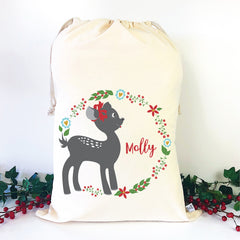 Christmas Fawn Personalised Santa Sack - HappyJoy Decor