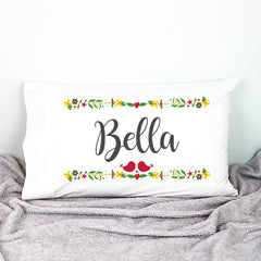 Christmas Florals Personalised Pillowcase - Happy Joy Decor