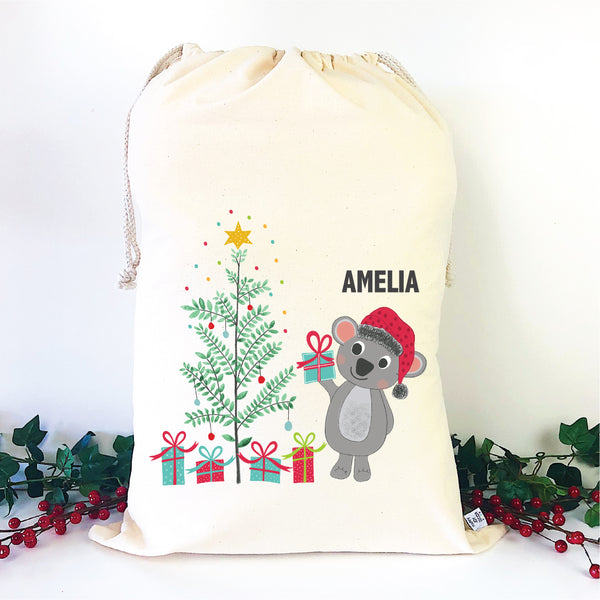 Christmas Koala Personalised Santa Sack - Happy Joy Decor