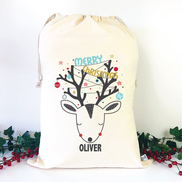 Christmas Reindeer Personalised Santa Sack - Happy Joy Decor