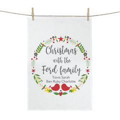 Christmas Wreath Personalised Tea Towel - Happy Joy Decor