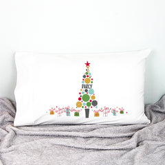 Christmas Bauble Tree Personalised Pillowcase - Happy Joy Decor