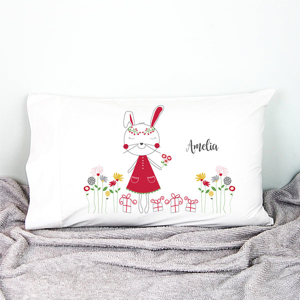 Christmas Bunny Personalised Pillowcase - Happy Joy Decor