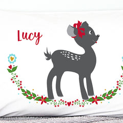 Christmas Fawn Kid's Personalised Pillowcase - Happy Joy Decor