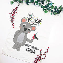 Koala Reindeer Personalised Christmas Tea Towel - Happy Joy Decor