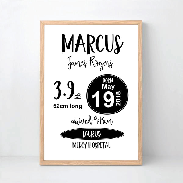 Monochrome Classic Personalised Birth Print - Happy Joy Decor