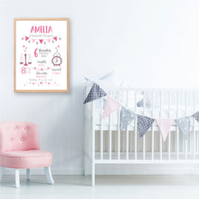 Load image into Gallery viewer, Classic Birth Stat Print - Girls Newborn Gift - Happy Joy Decor