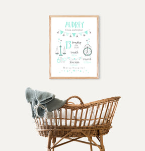 Classic Birth Stat Print - Girls Newborn Gift - Happy Joy Decor