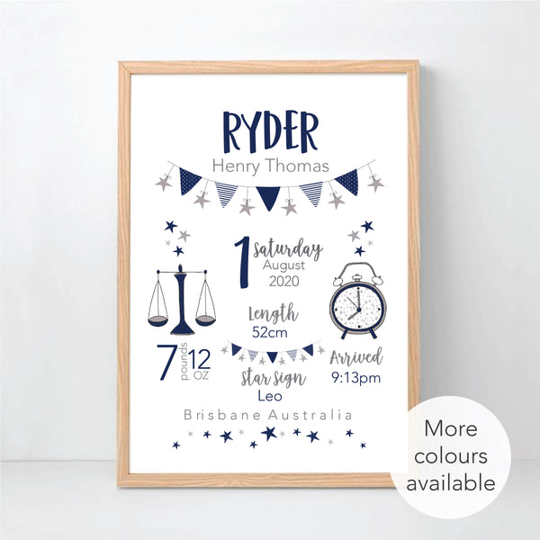 Classic Birth Stat Print - Newborn Gift - happy Joy Decor