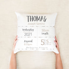 Load image into Gallery viewer, Essential Birth Stat Cushion - Boys nursery decor - Happy Joy Decor