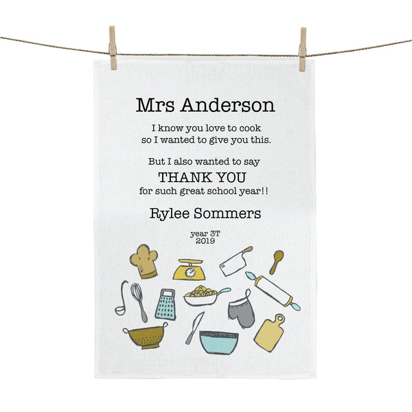 Cooking Teachers Gift Personalised Tea Towel - Happy Joy Decor