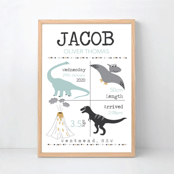 Dinosaur nursery birth print - Happy Joy Decor