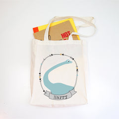 Brontosaurus Personalised Library Tote Bag - Happy Joy Decor
