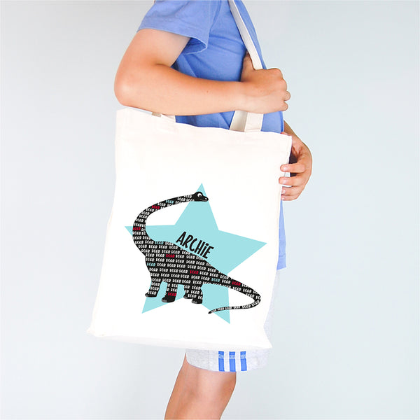 Dinosaur Personalised Library Tote Bag
