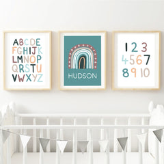 Earth Rainbow Alphabet & Number Personalised Wall Art Set - Happy Joy Decor