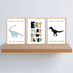 Eat Play Rawr Sleep Printable Wall Art Set - Happy Joy Decor