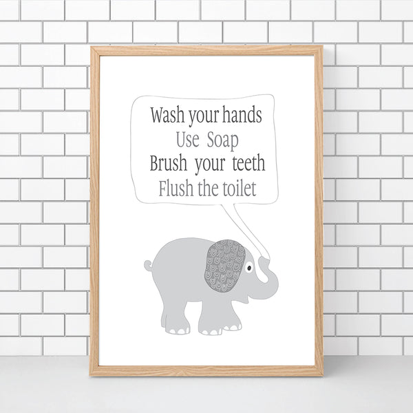 Kids Elephant Bathroom Wall Art Printable Instant Download