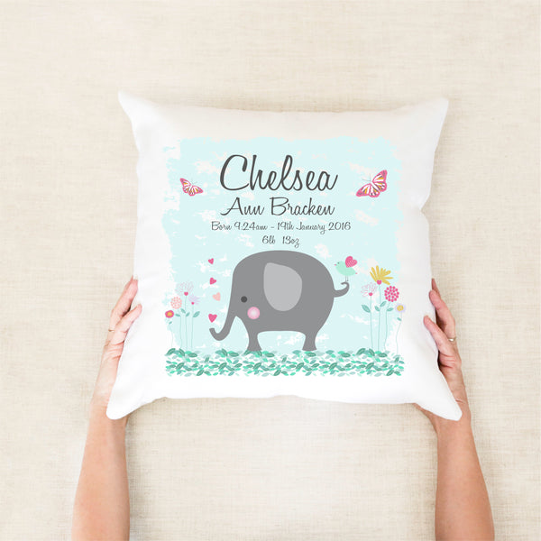 Girls elephant birth stat cushion - custom birth stat cushion - Happy Joy Decor