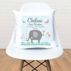 Elephant personalised girls birth cushion - Happy Joy Decor