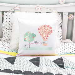 Hot Air Balloon Personalised Cushion - Girls Custom Name Pillow - Happy Joy Decor