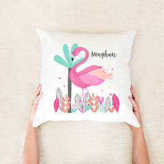 Flamingo Girls Personalised Cushion - girls custom name pillow - Happy Joy Decor
