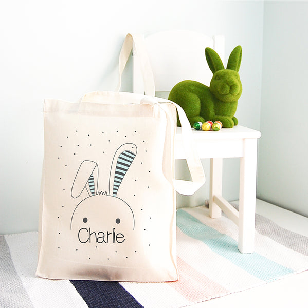 Kids' Easter Bunny Inspired Personalised Tote Bag - Happy Joy Decor