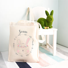 Boho Bunny Girls Personalised Tote Bag