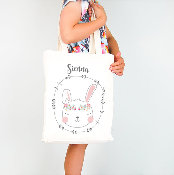 Boho bunny girls personalised tote bag - Happy Joy Decor