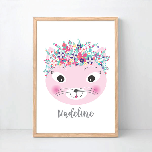 Floral Crown Kitty Personalised Print- Happy Joy Decor