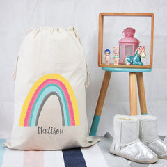 Personalised Toy Storage Bag - Rainbow