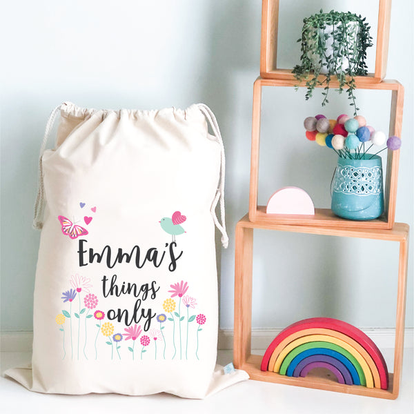 Floral Garden Personalised Toy Storage Sack - Happy Joy Decor